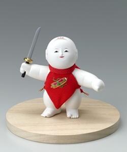 建一作 木彫御所人形 「わんぱく」