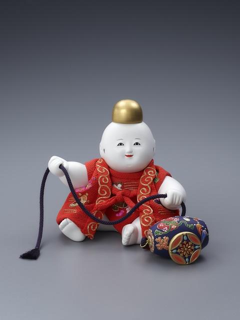 十二世久重作 木彫御所人形「ぶりぶり遊び」